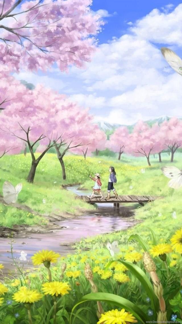 Anime Spring Iphone 5 Wallpapers Desktop Background