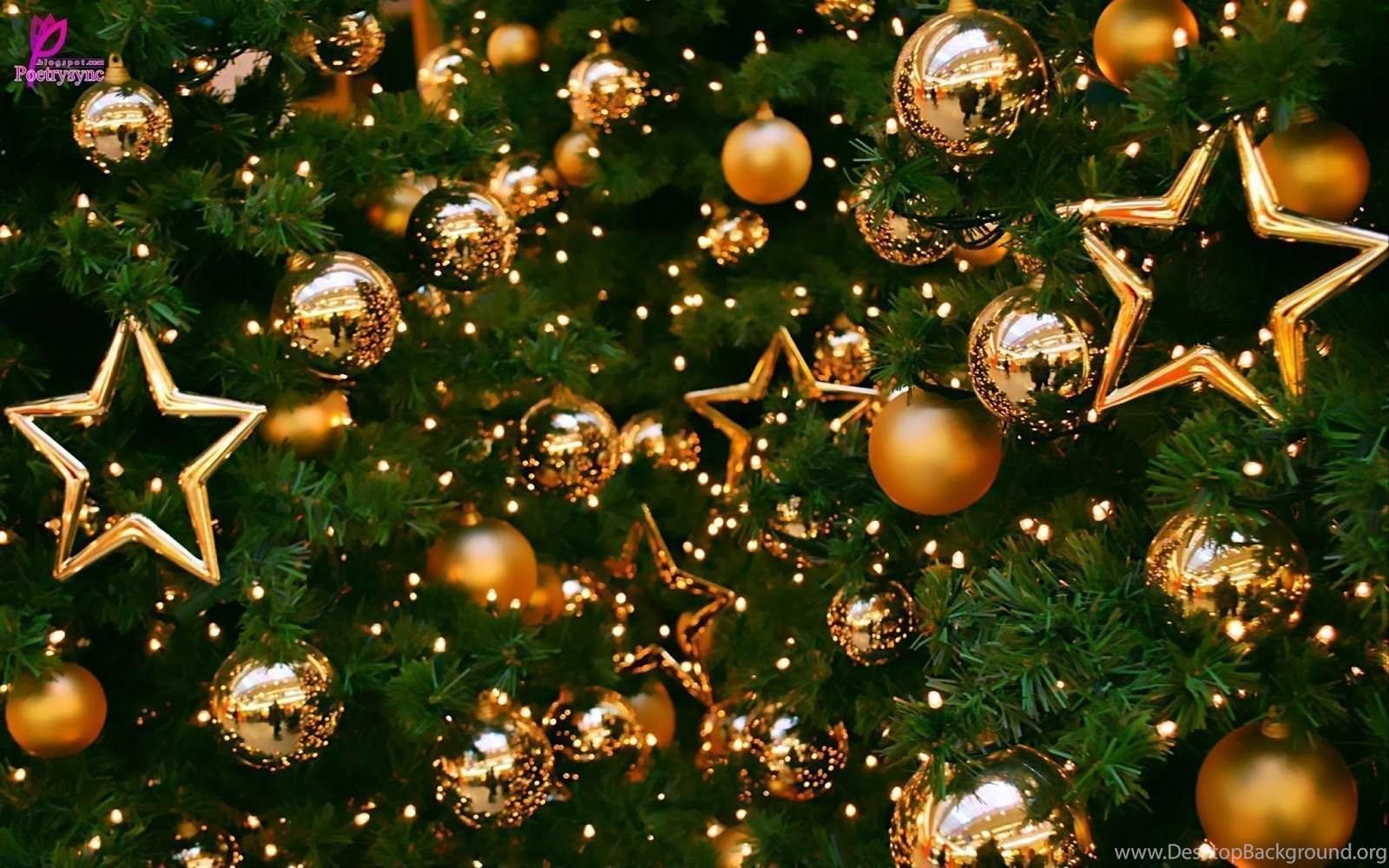merry christmas balls and christmas tree hd wallpaper image hd