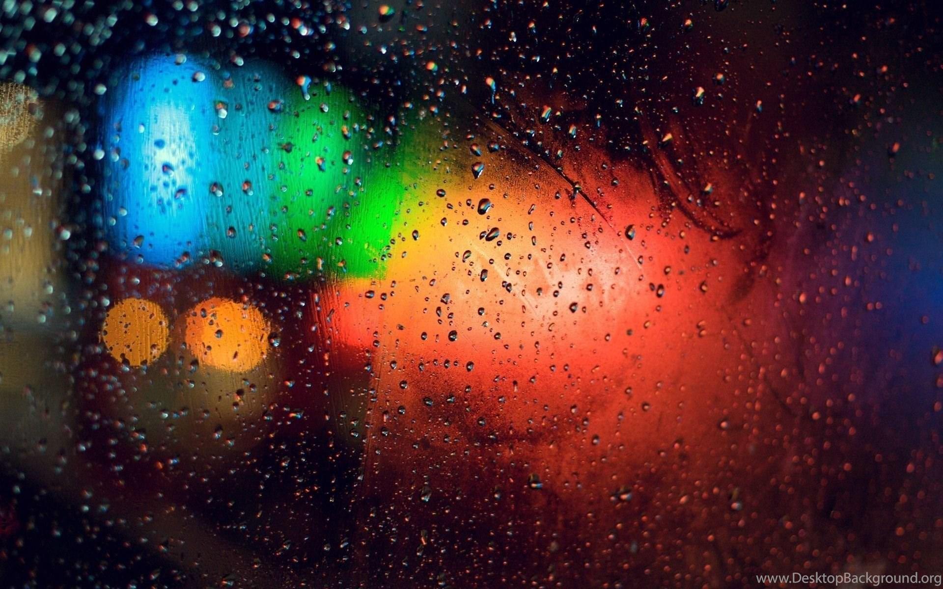 Colorful lights behind rainy window photography hd - Rainy window wallpaper ...