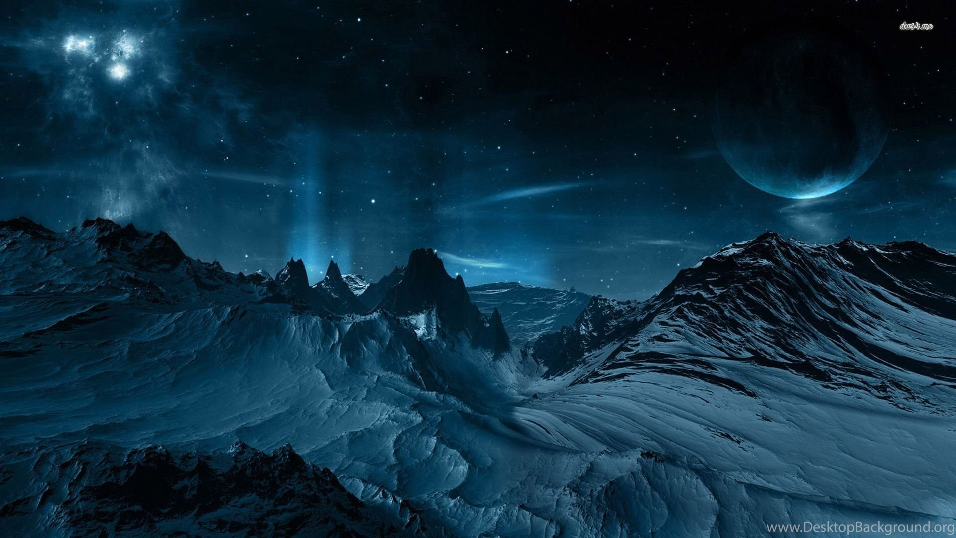 Night Sky Mountain Snow Star Moon Fantasy 1920x1080 Hd