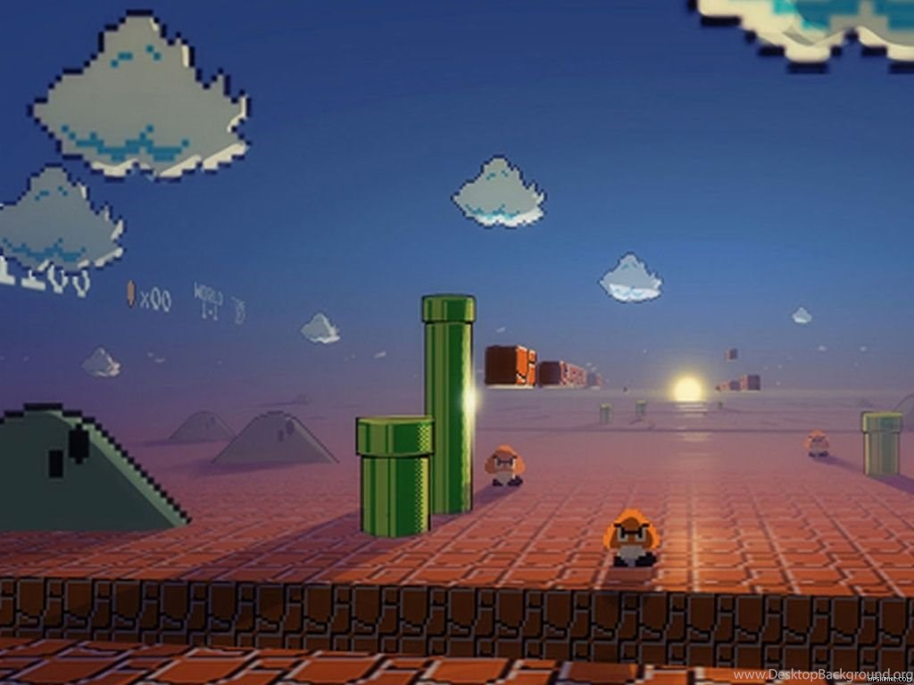 Sunset In 3d Mushroom Kingdom Desktop Background