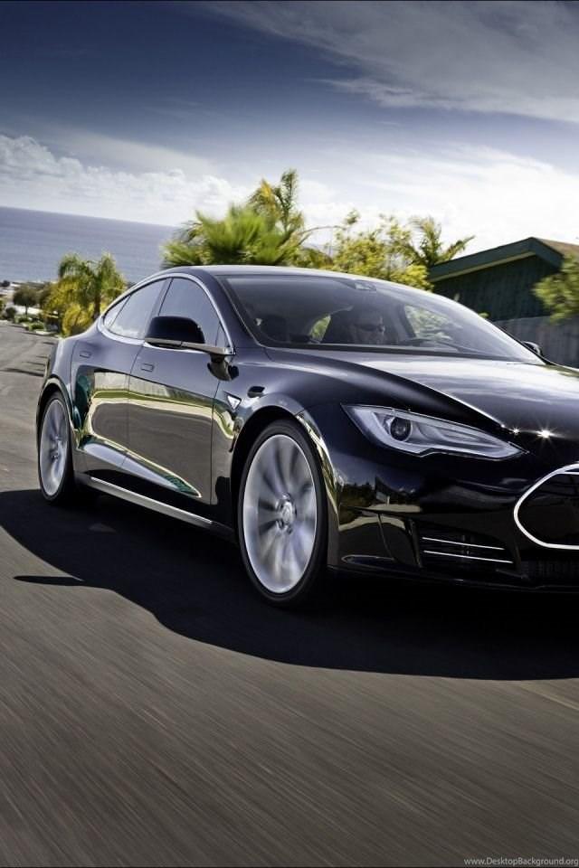 640x960 2012 Tesla Model S Black Motion Iphone 4 Wallpapers Desktop Background