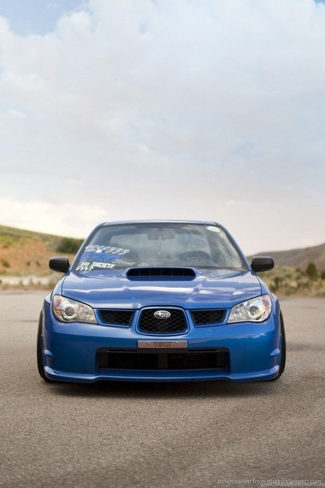 Download Blue Subaru Impreza Wrx Front Wallpapers For Iphone 4