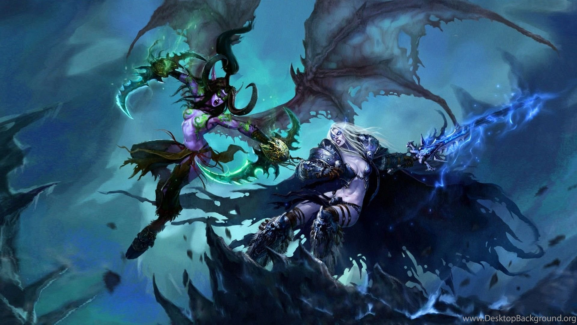 Illidan Vs Sylvanas World Of Warcraft Wallpapers Free Wide Hd