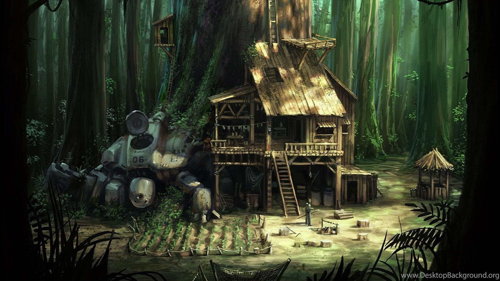 Jungle House Signs Of The Past Mech In Woods Hd Wallpapers