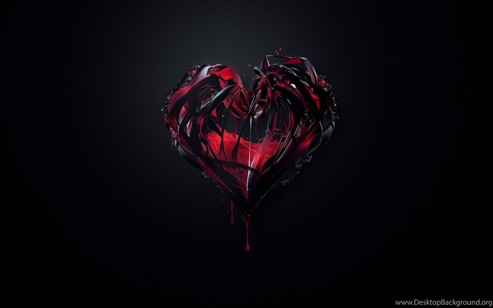 1920x1200 Background Red Minimalism Paint Black Heart