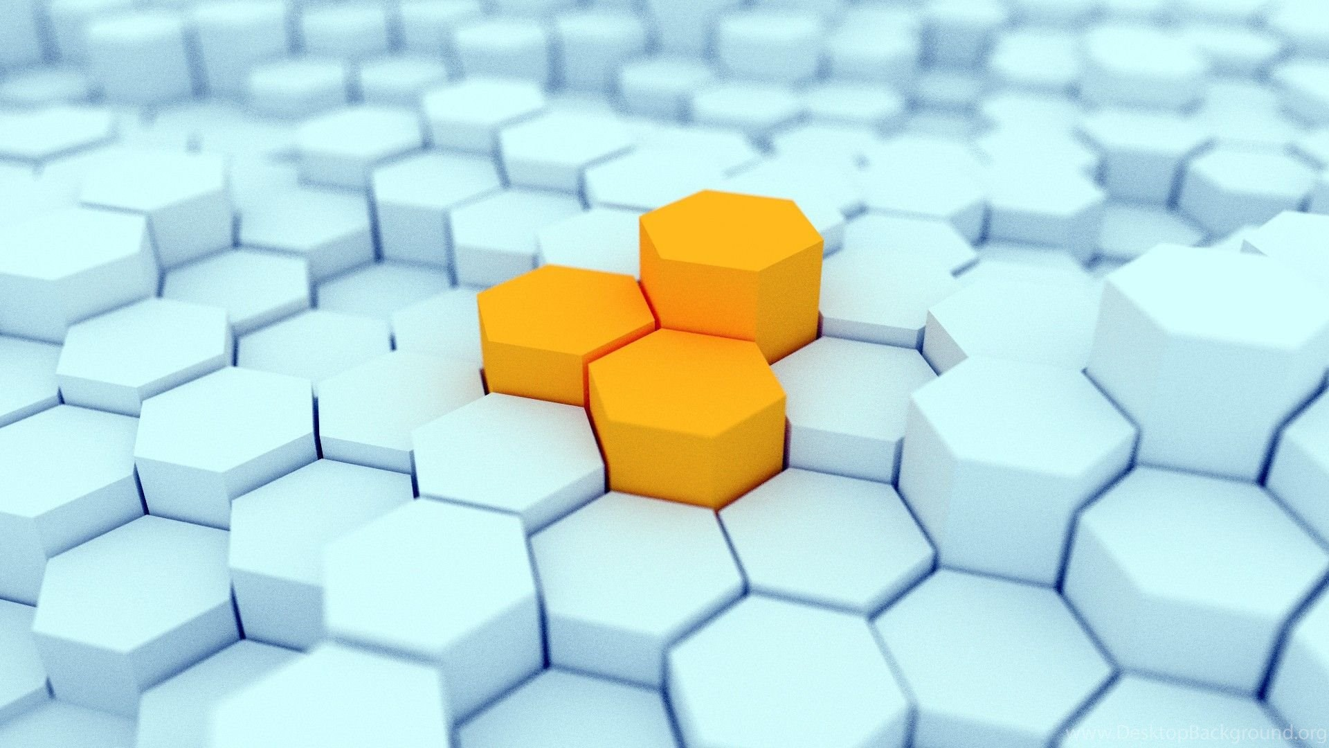 3D View, Minimalistic, Hexagons, Gold, Blender, Artwork, 3D
