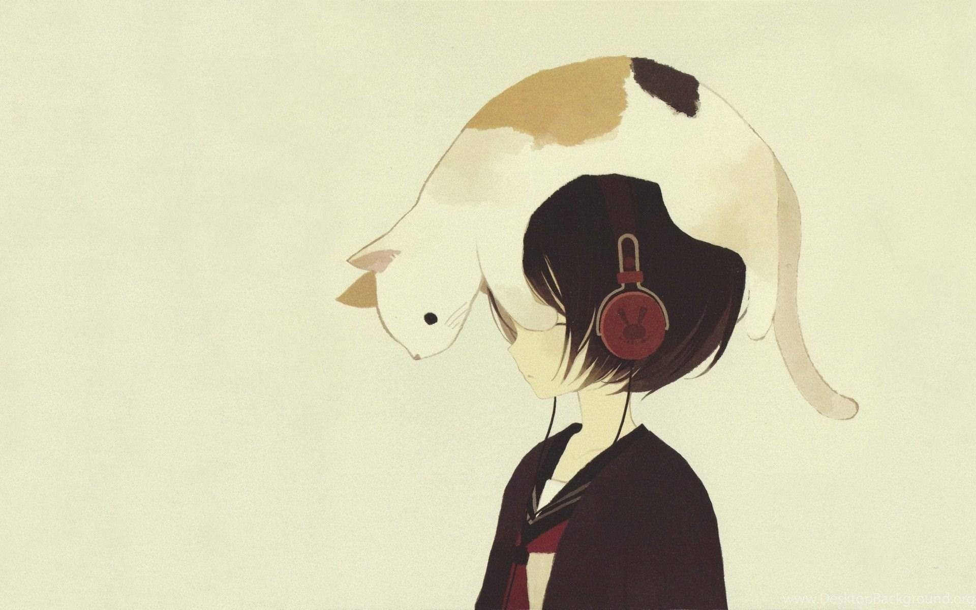Anime Girls With Headphones Wallpapers Desktop Background