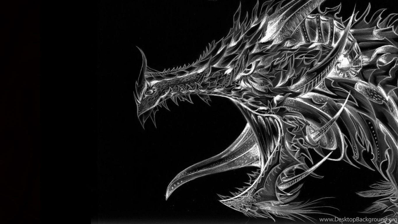 black and white dragon computer wallpapers desktop backgrounds