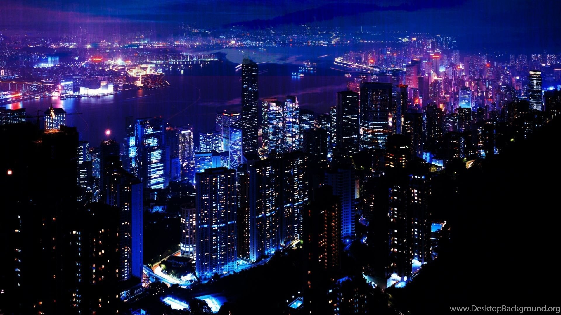 Download HD Night Light City Sky Skyscrapers Wallpapers