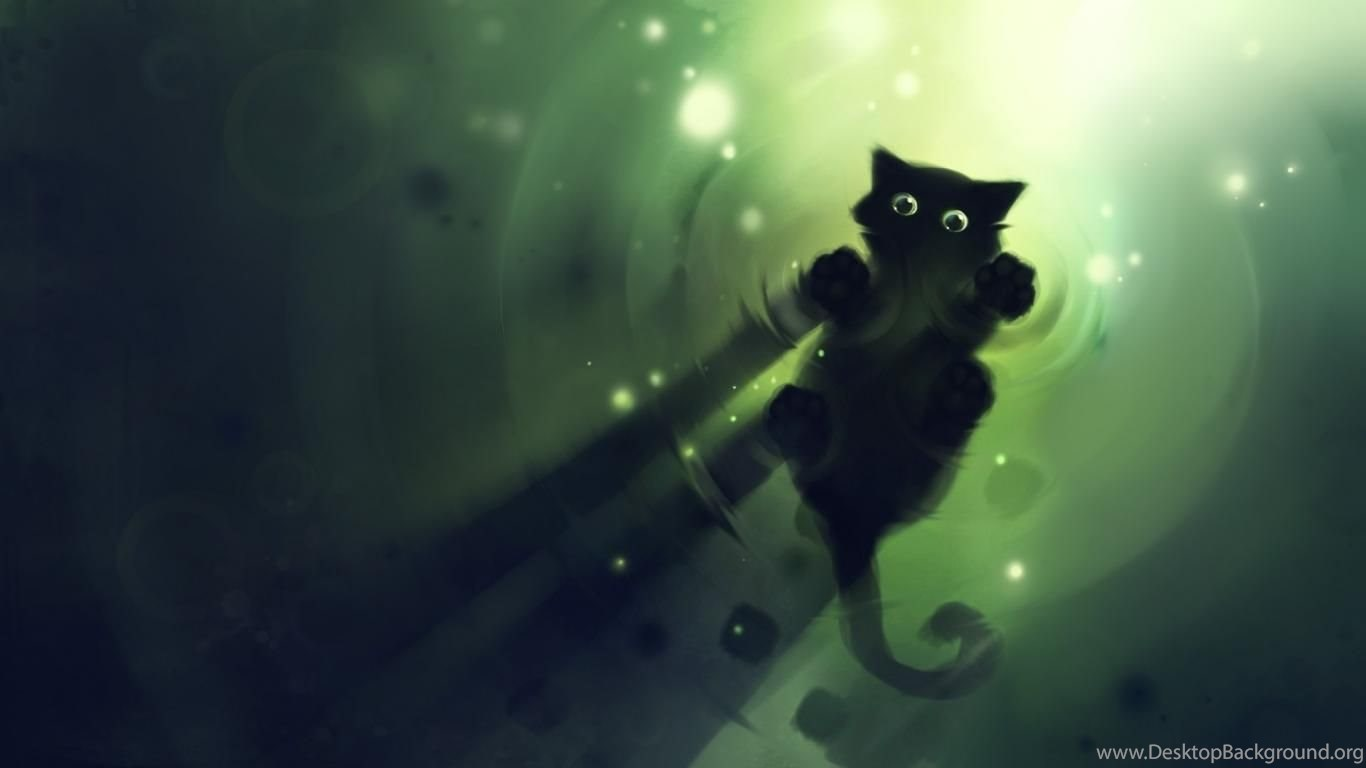 Wallpapers Anime Black Cat Free Green On Water Original Dark
