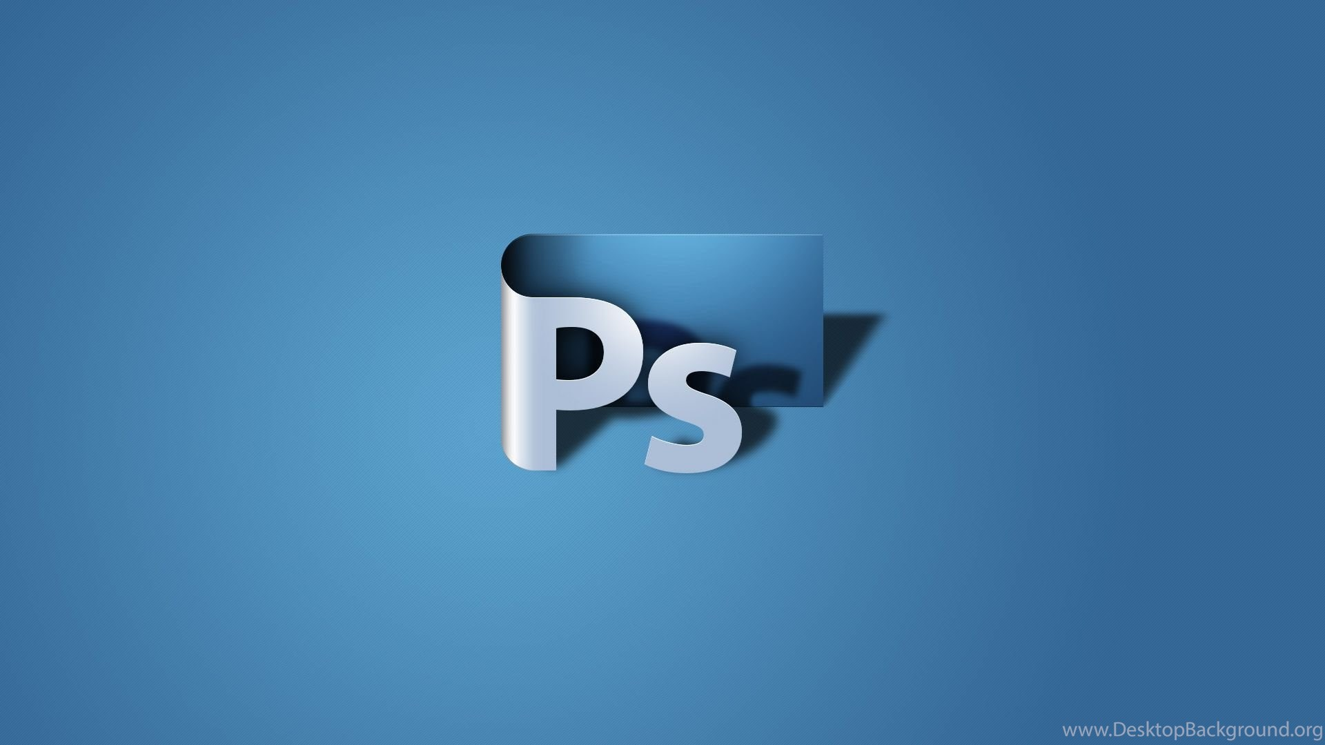 photoshop icon 3d art shadow blue background hd wallpaper
