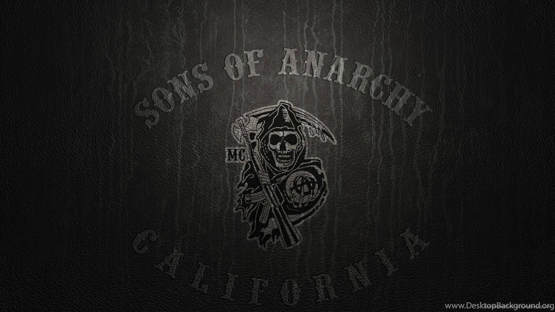 Sons Of Anarchy Logo On Leather Wallpapers For Iphone 4 Desktop