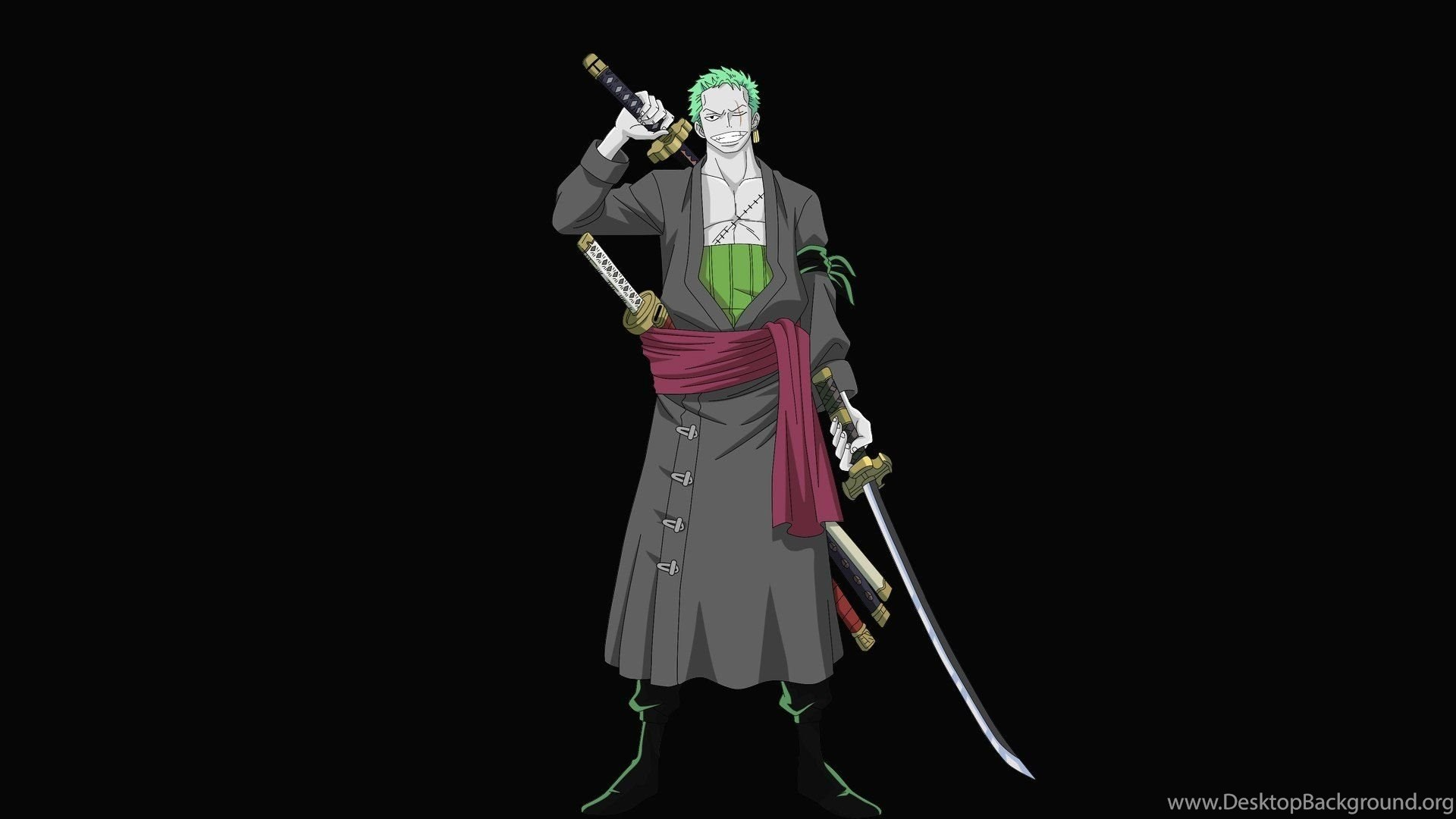 One Piece Anime Roronoa Zoro Green Hair Anime Anime Boys Swords Desktop Background