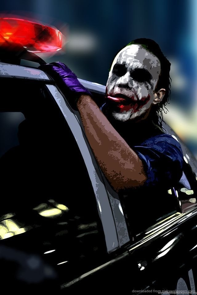 Download Joker Driving In A Police Car Wallpapers For Iphone 4 Desktop Background