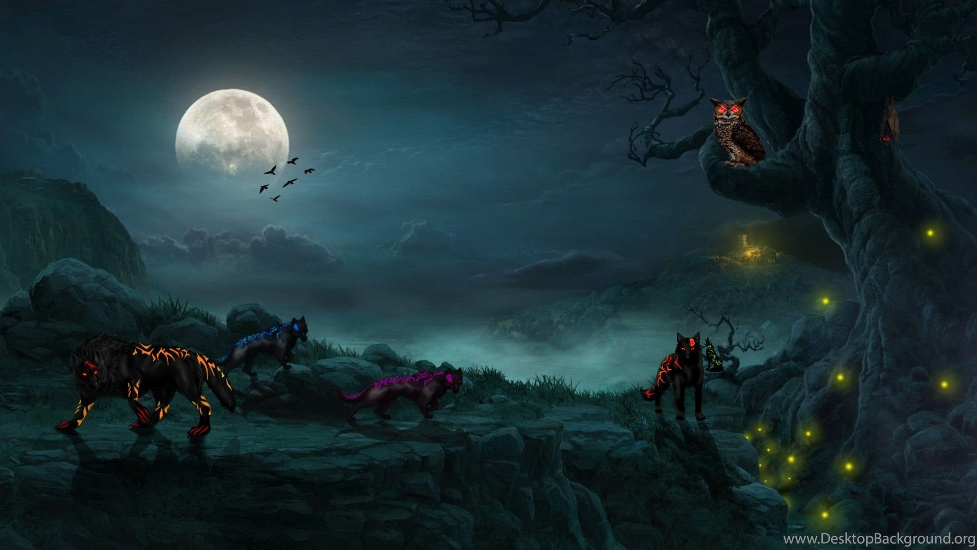 Other Wolf Backgrounds Full Moon Night Dark Mystical Mist Phone Desktop Background