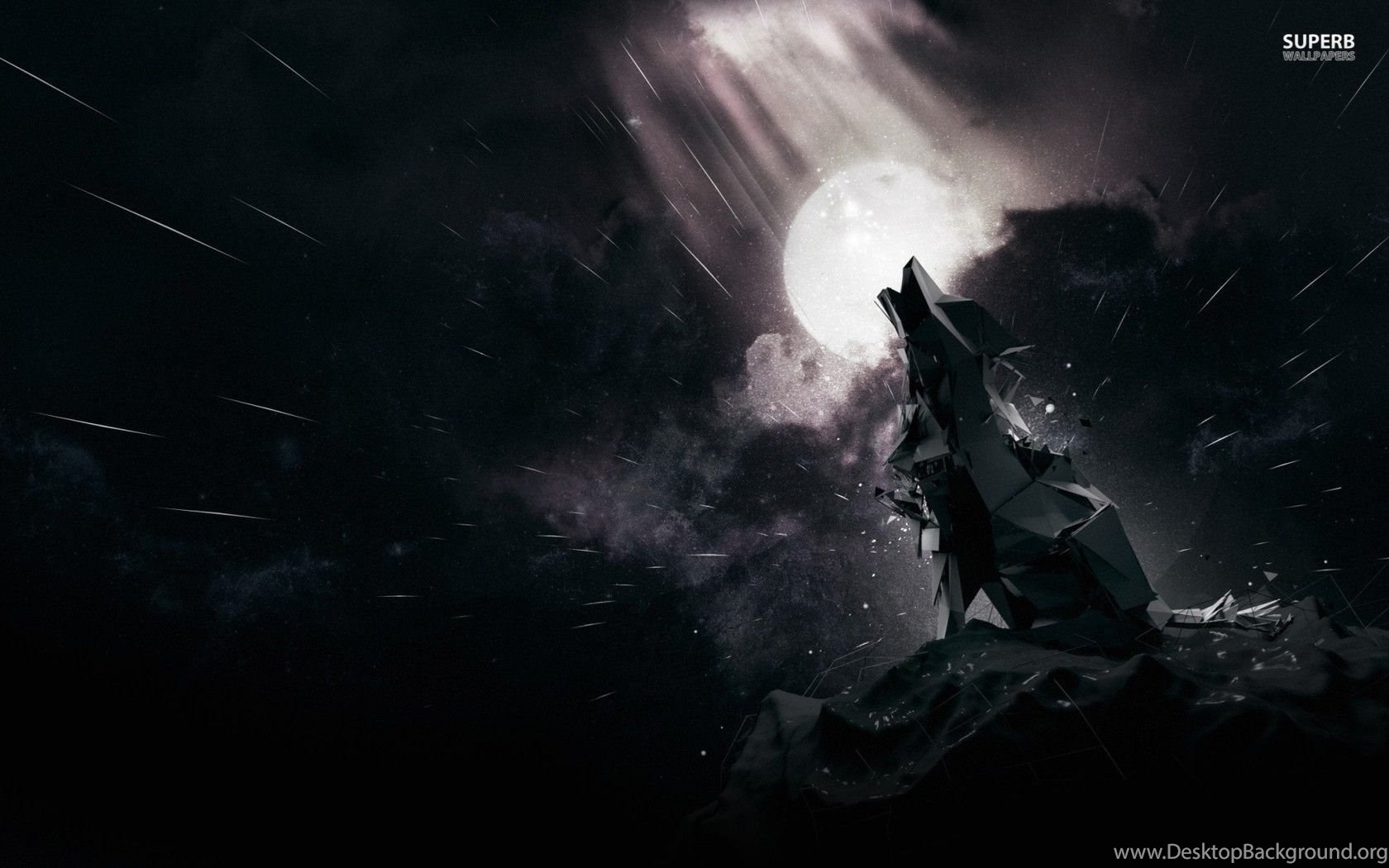 Polygon Howling Wolf Wallpapers Digital Art Desktop