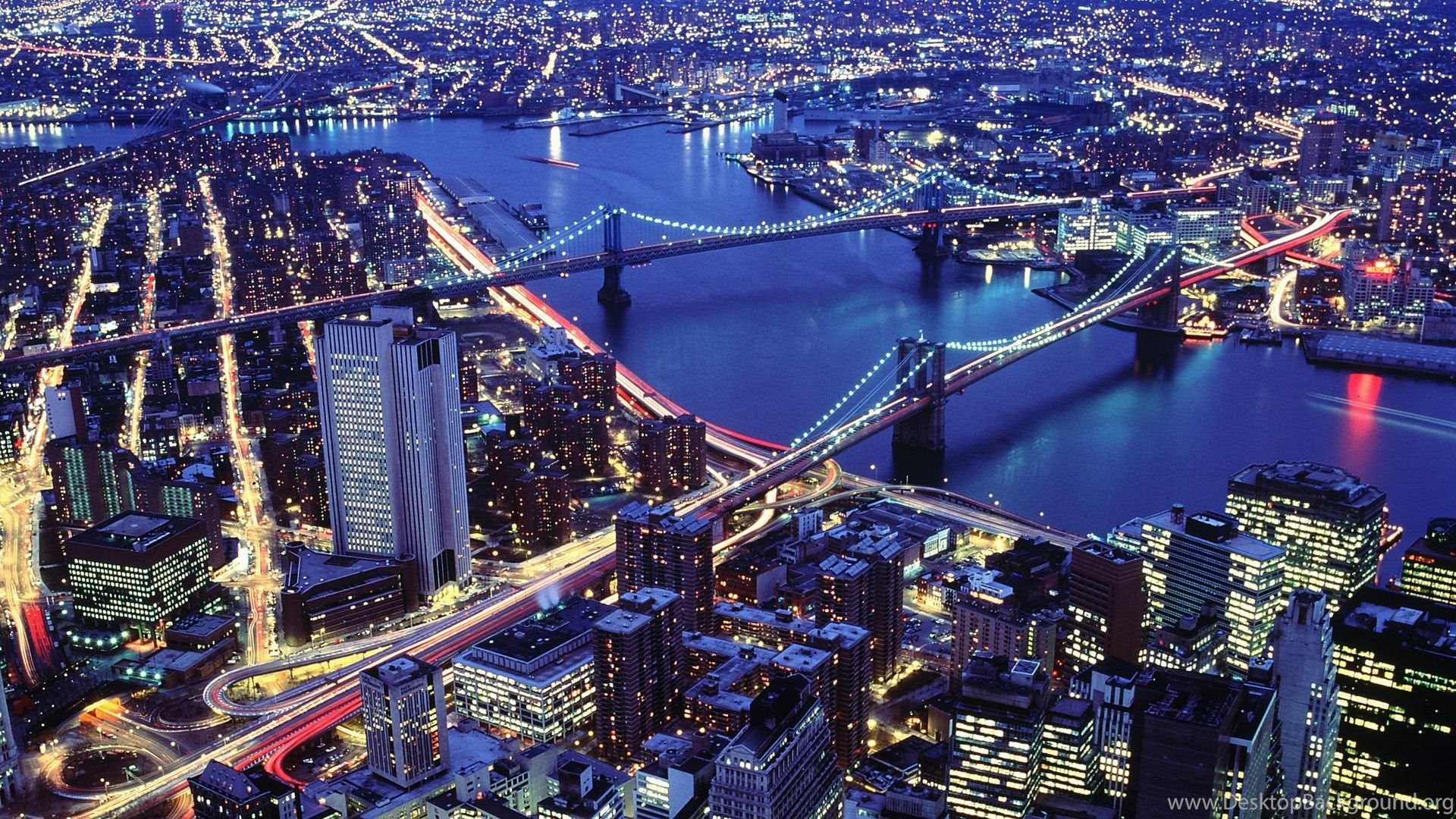 Aerial Buildings City New York Night View Hd Wallpapers Desktop Background