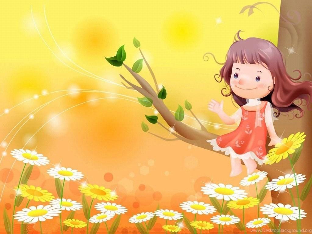 Kids Girl Cartoon Vector Images Hd Wallpapers Desktop Background