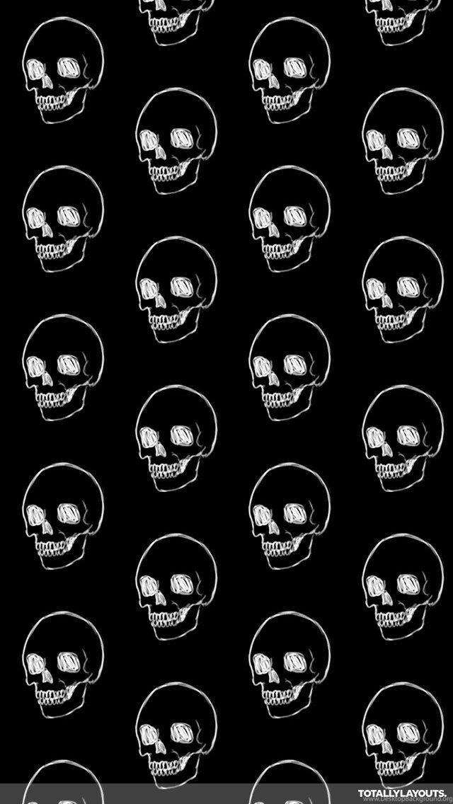 White Line On Black Skulls Whatsapp Wallpapers Skull Desktop Background