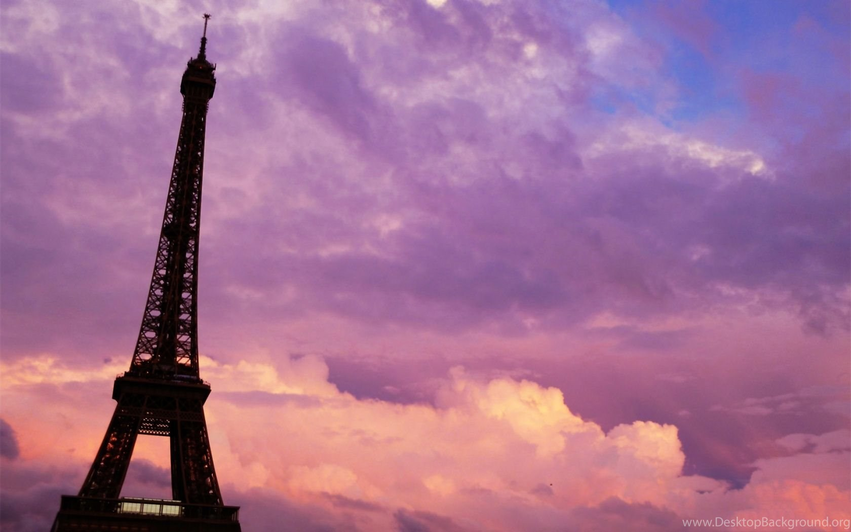 1680x1050 Paris Purple Pink Sunset Wallpapers Desktop Background
