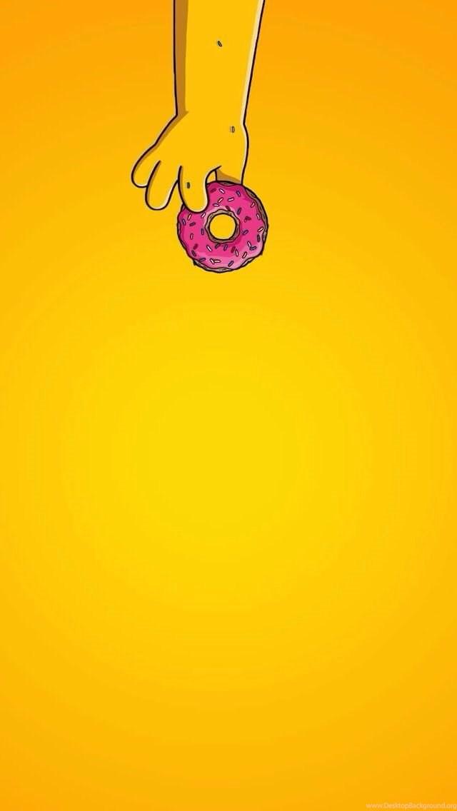 Simple Donut Homer Simpsons Iphone Wallpapers Home Screen Desktop