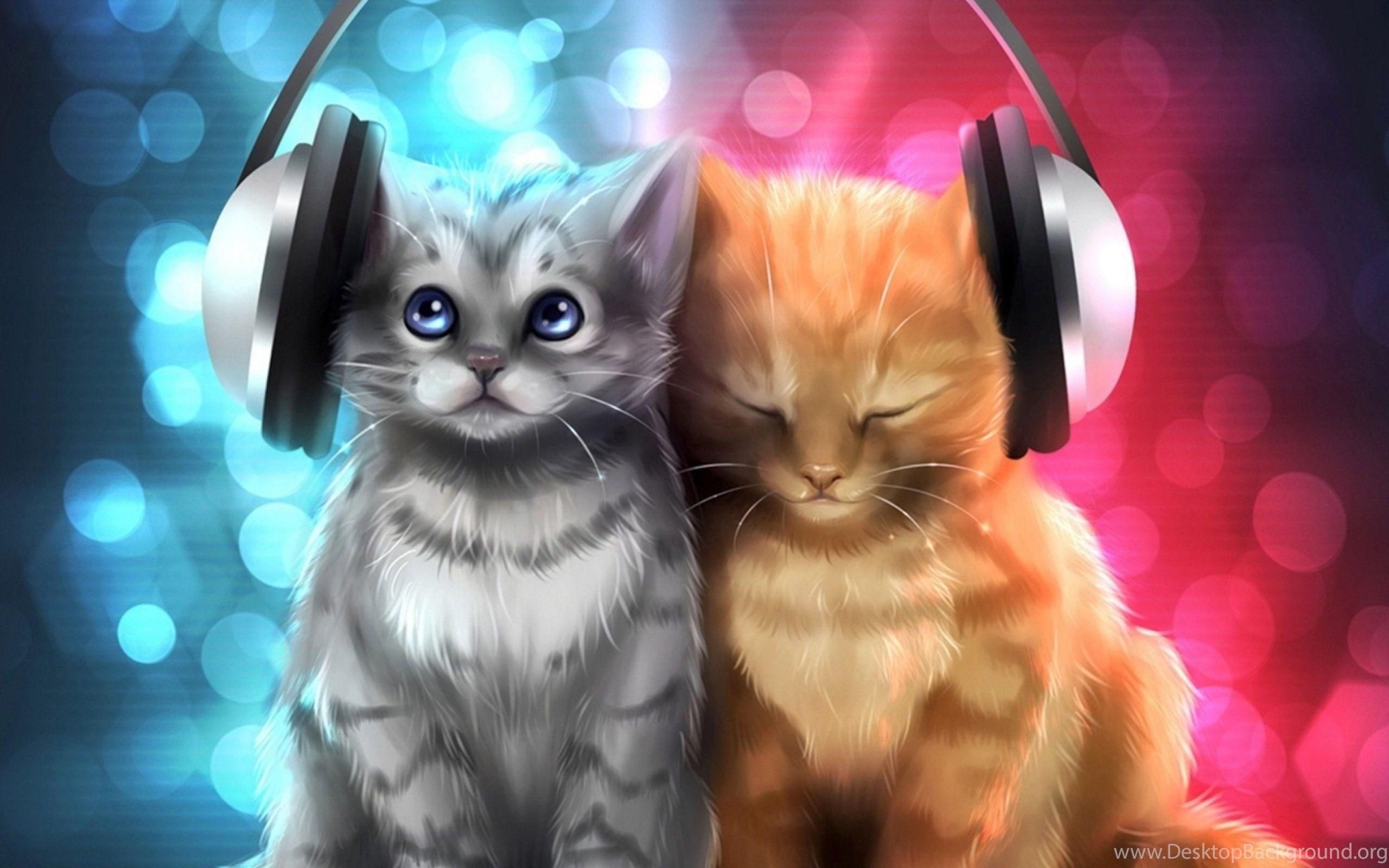 Animal Cat Cats Artwork Art Kitten Headphones Wallpapers Desktop