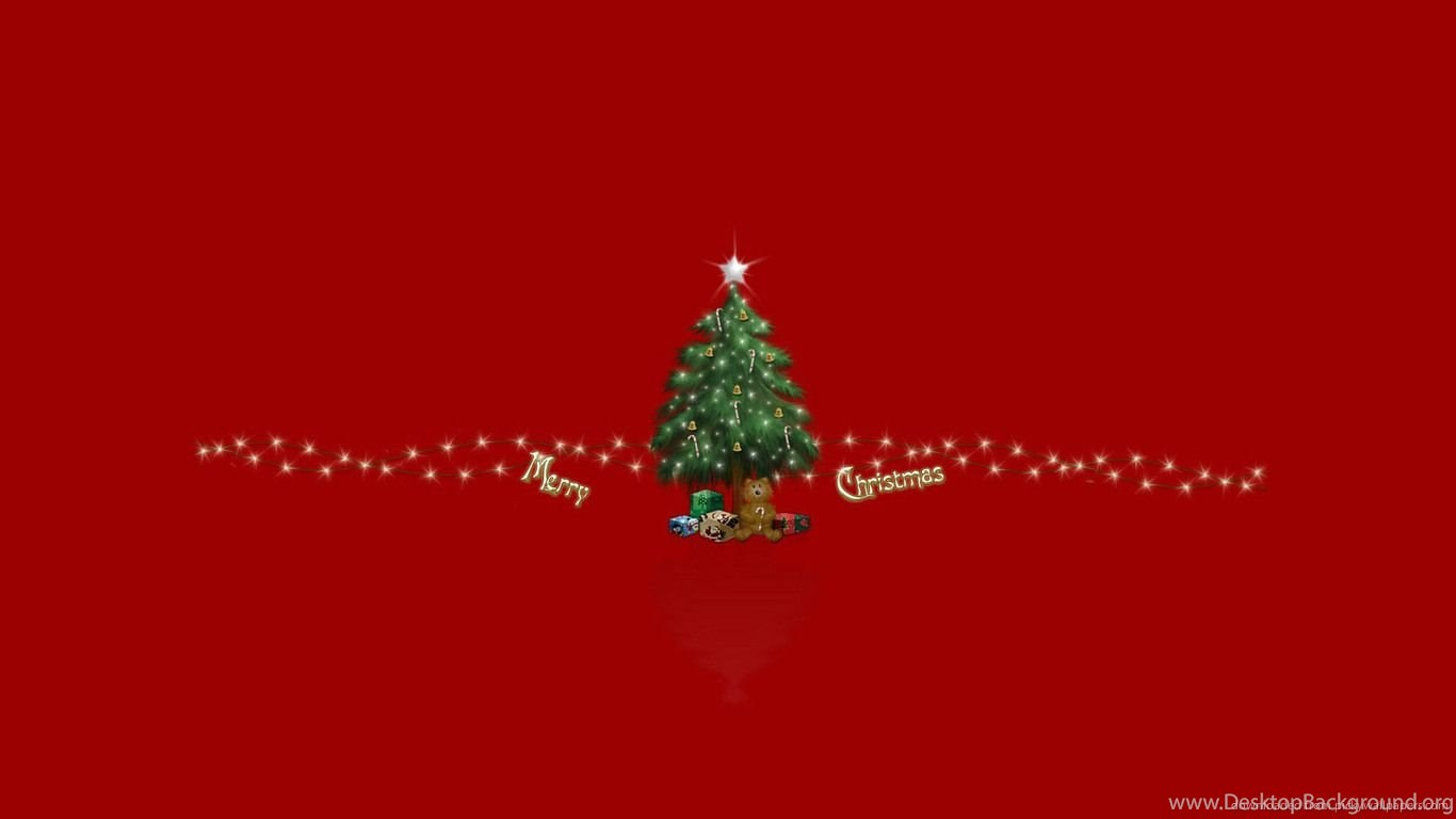 Download 1366x768 Small Christmas Tree On A Red Backgrounds Wallpapers Desktop Background