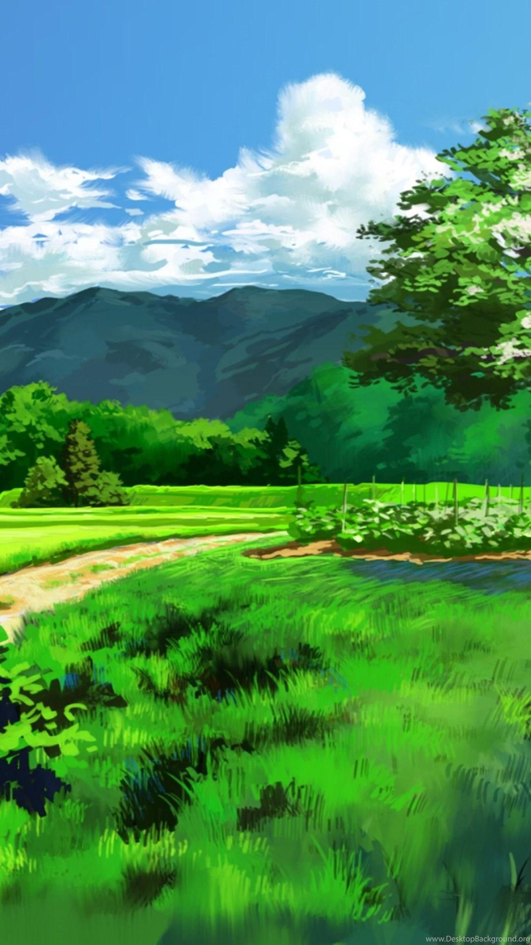 Anime Landscape Dual Screen S4 Wallpapers Desktop Background