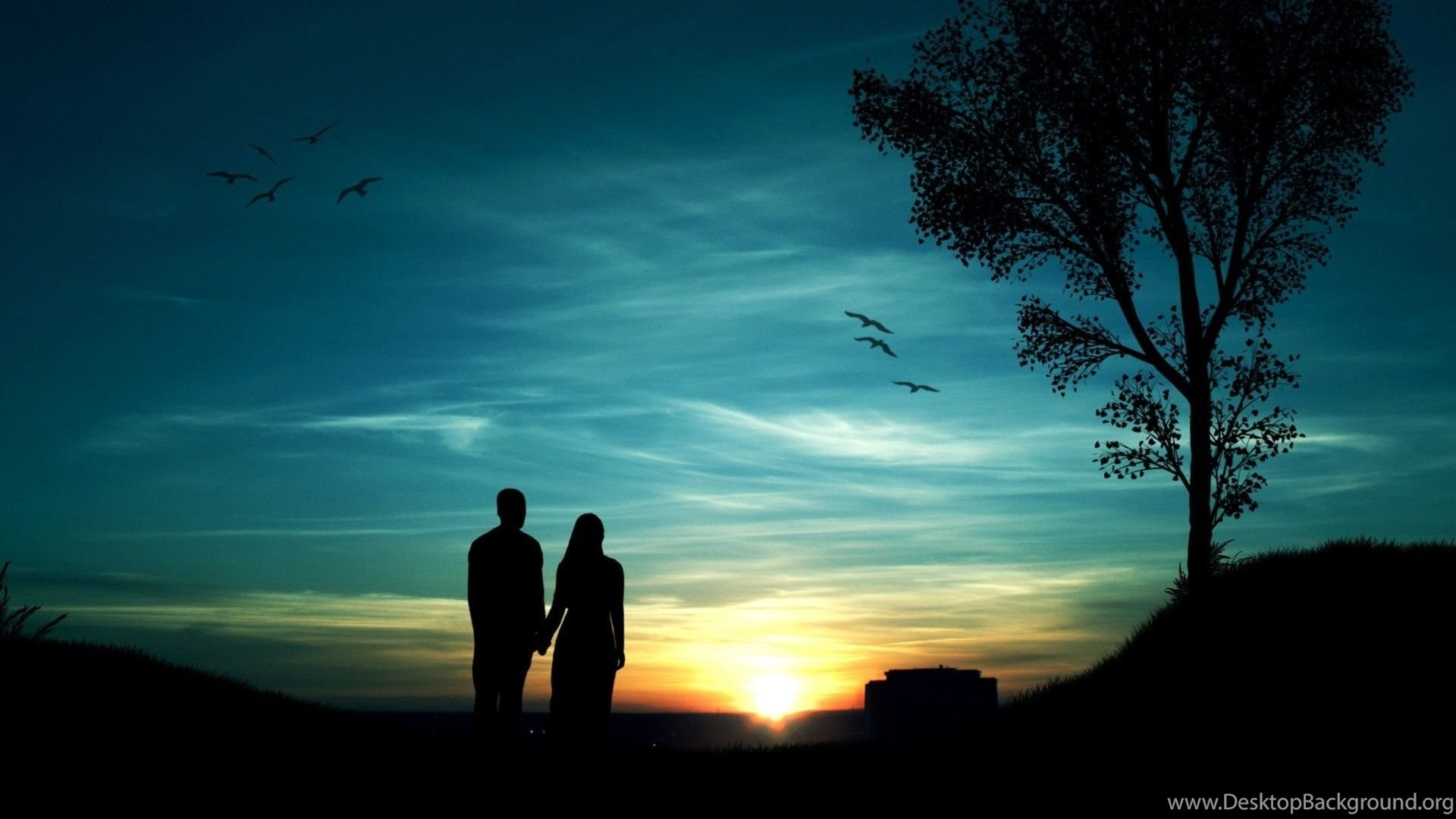 Boy Girl Couple In Sunset Picture Wallpapers Gallery Desktop