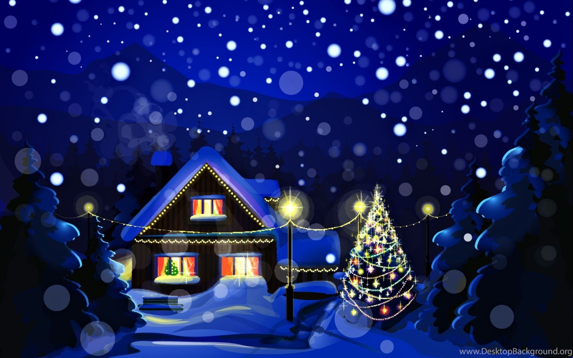 snowy christmas night wallpapers for desktop desktop background