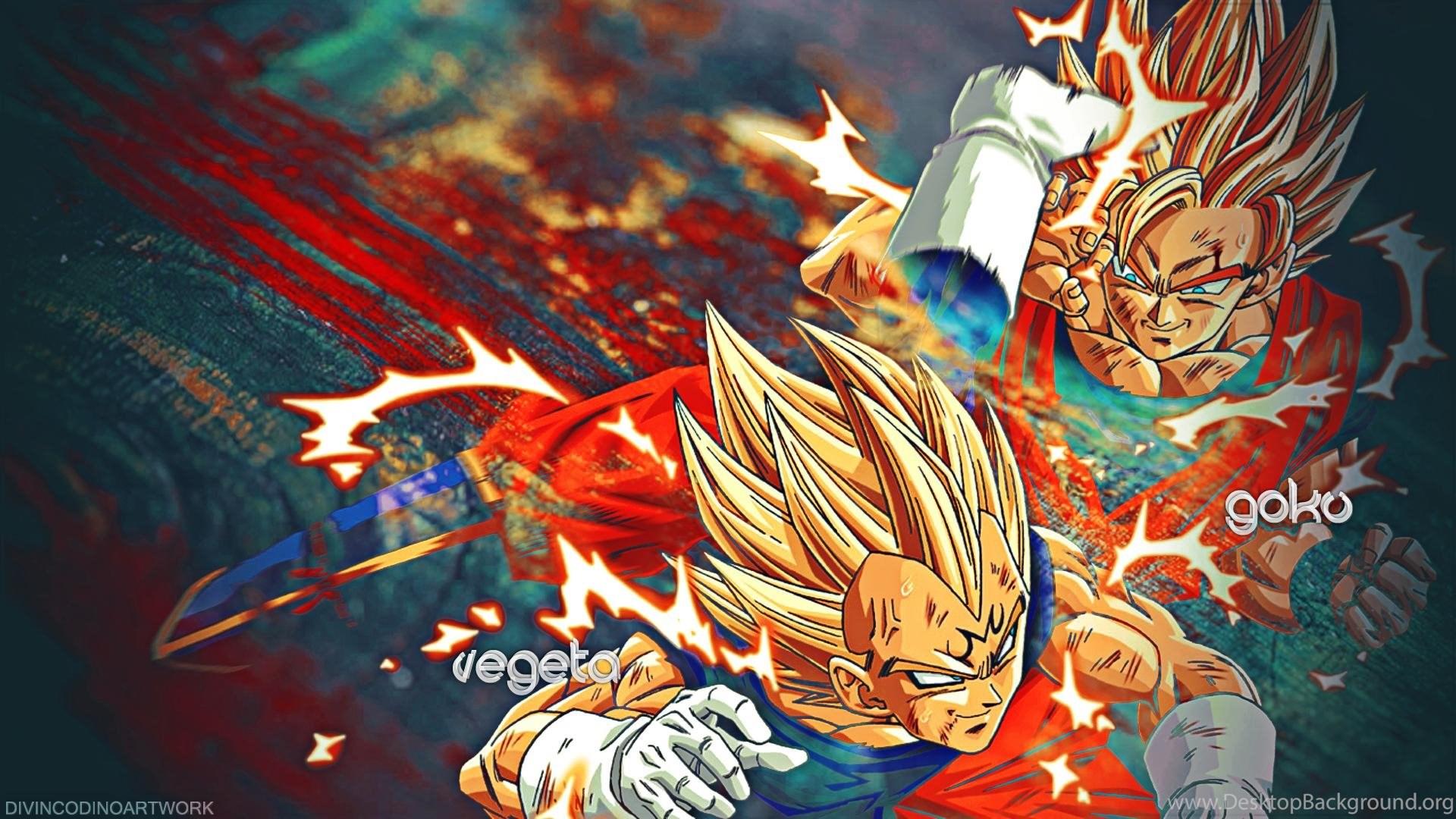 Dragon Ball Z Goku Vs Vegeta Saiyan Hd Wallpaper Desktop Png Desktop Background