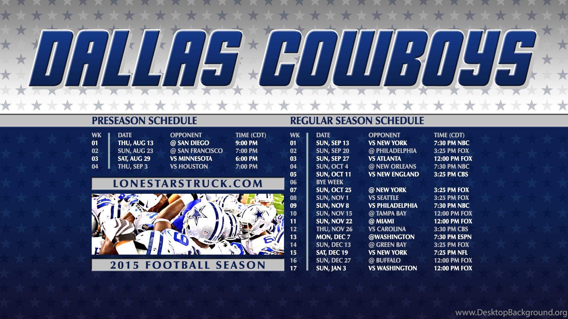 2015 wallpapers schedule lone star struck desktop background