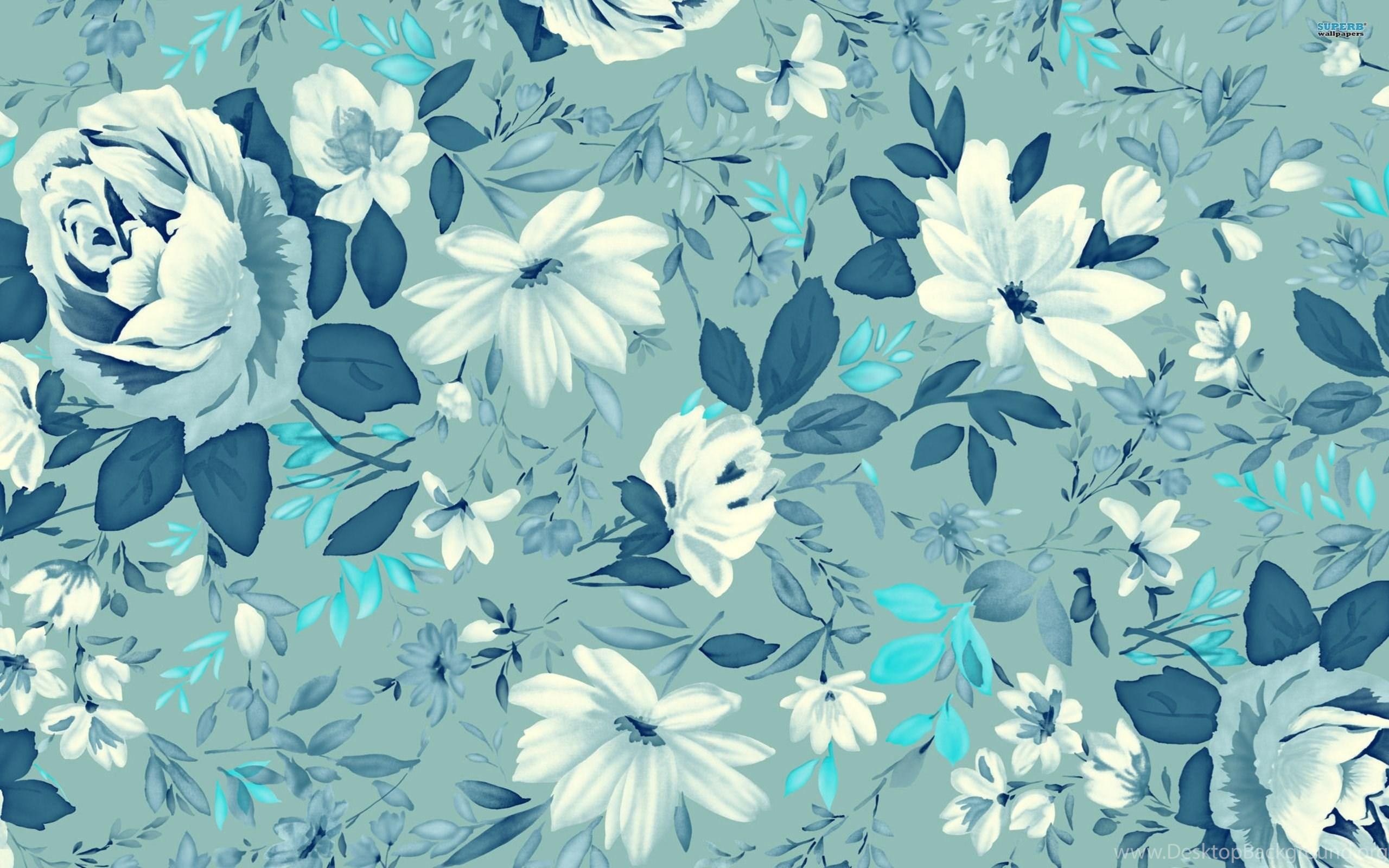 Pictures Blue Vintage Floral Desktop Background