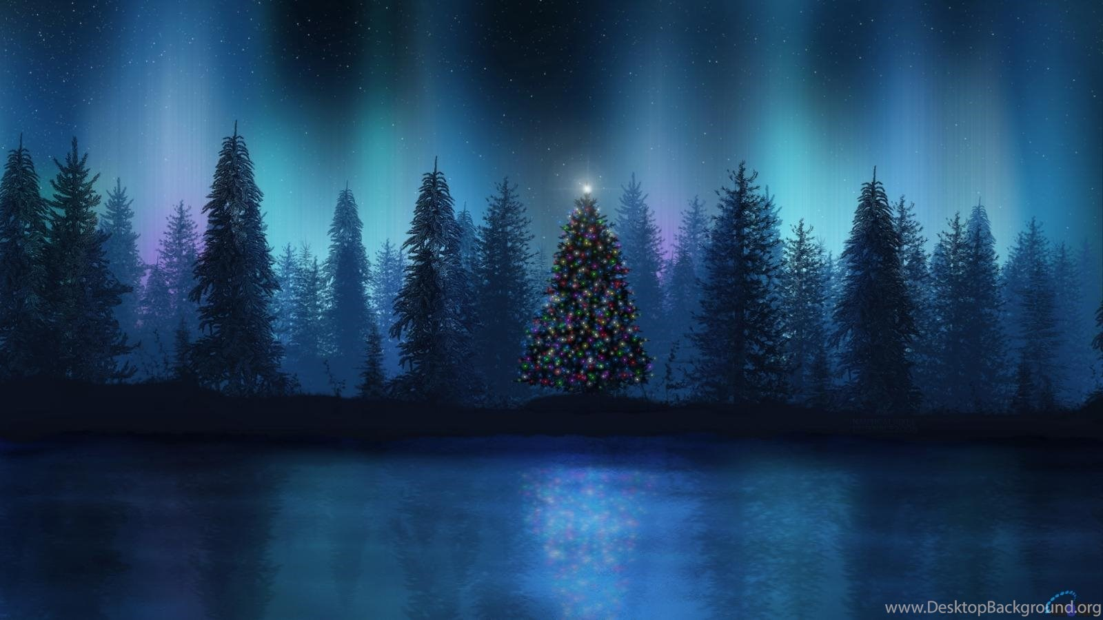 download wallpapers aurora at christmas night (1600 x 900