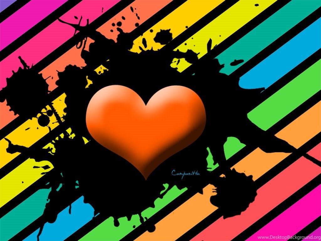 Rainbow Heart By Campanitta On Deviantart Desktop Background