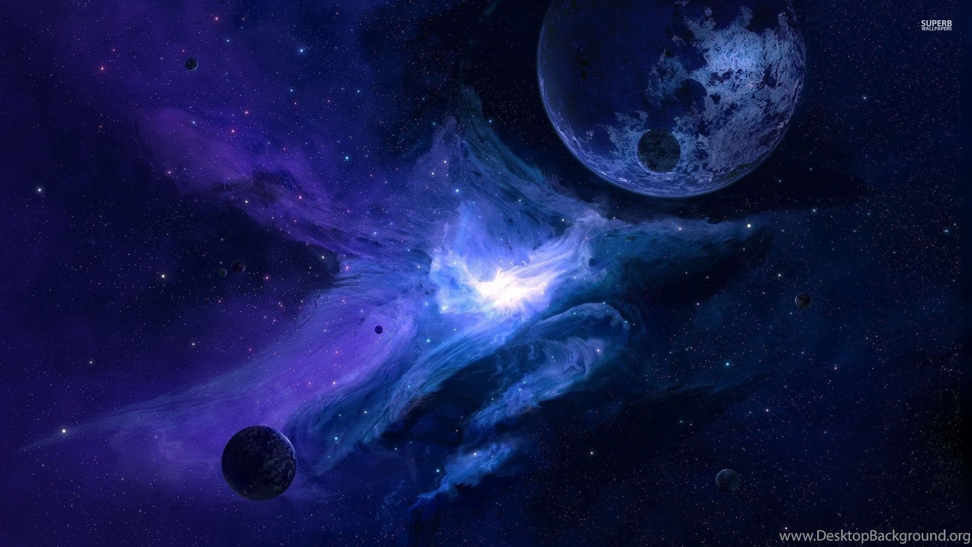 Planet In The Blue Galaxy Wallpapers Space Wallpapers Desktop Background