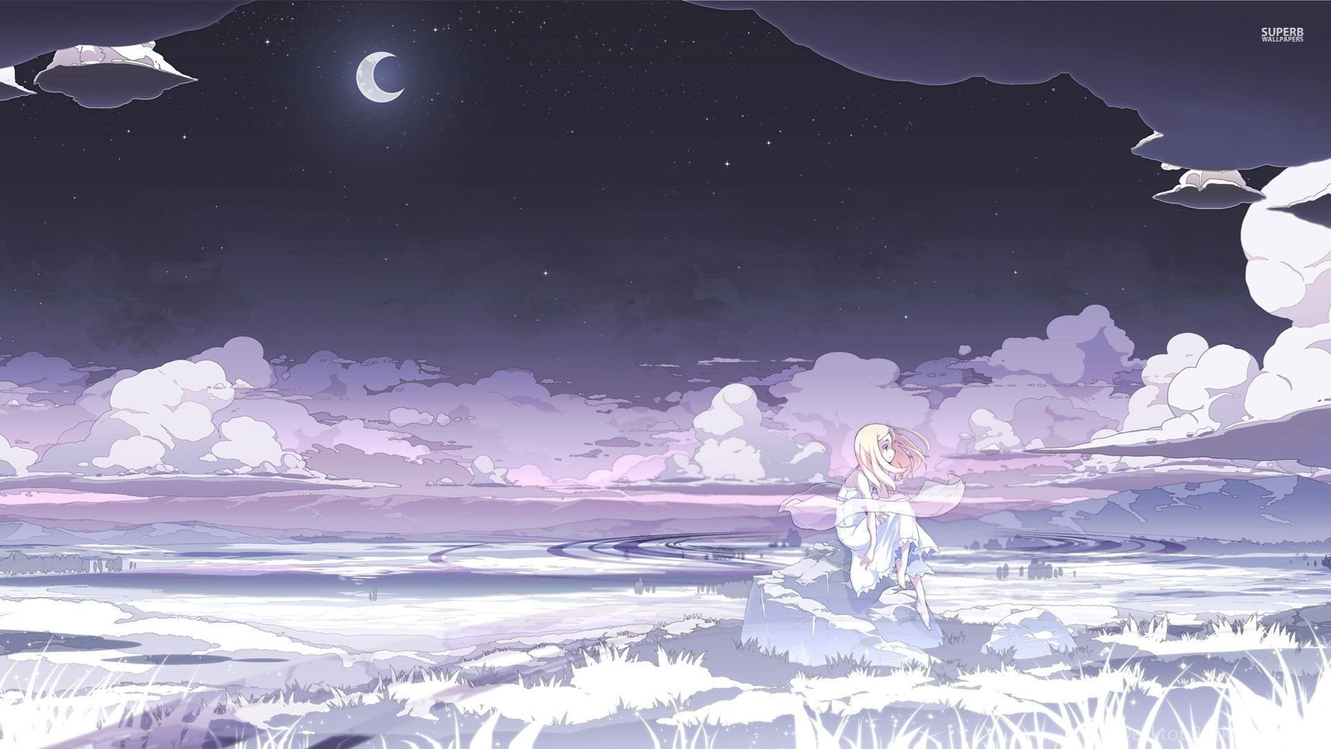 Sad Blonde Under The Moonlight Wallpapers Anime Wallpapers Desktop