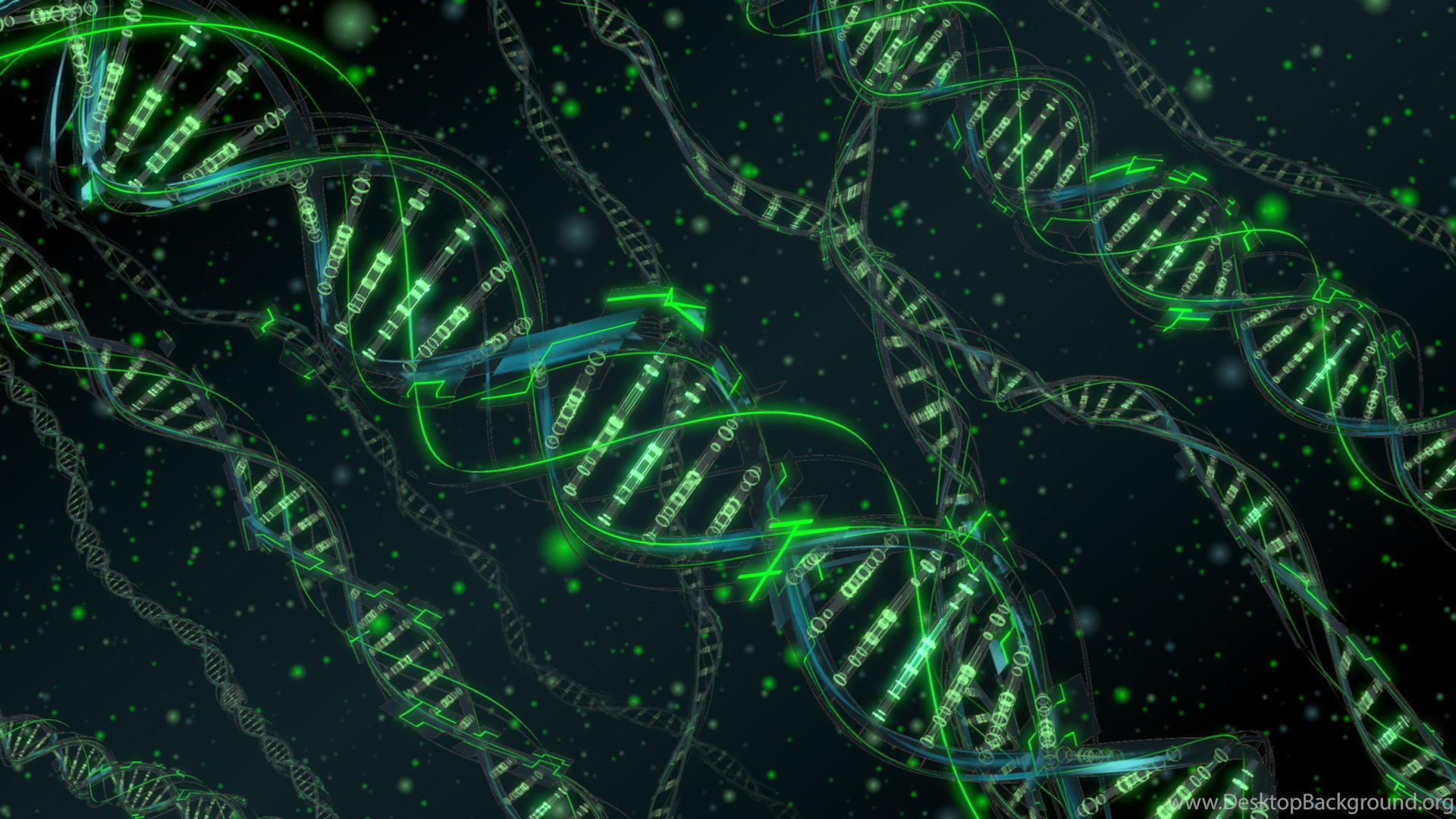 abstract, digital art, dna, 3d, cgi, green, dots wallpapers hd