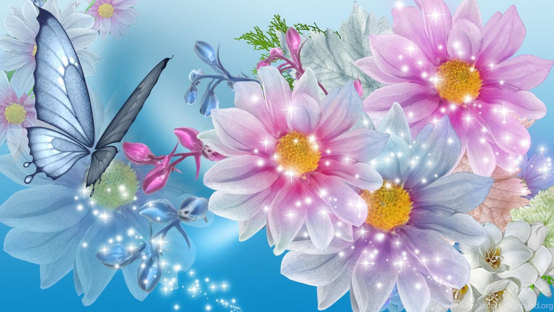 Pink Blue Floral Beauty Hd Wallpaper Get It Now Desktop