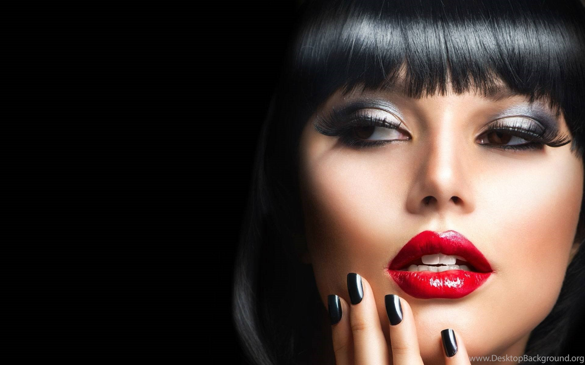 wallpapers beauty girls makeup red lips always beautiful 136908.8