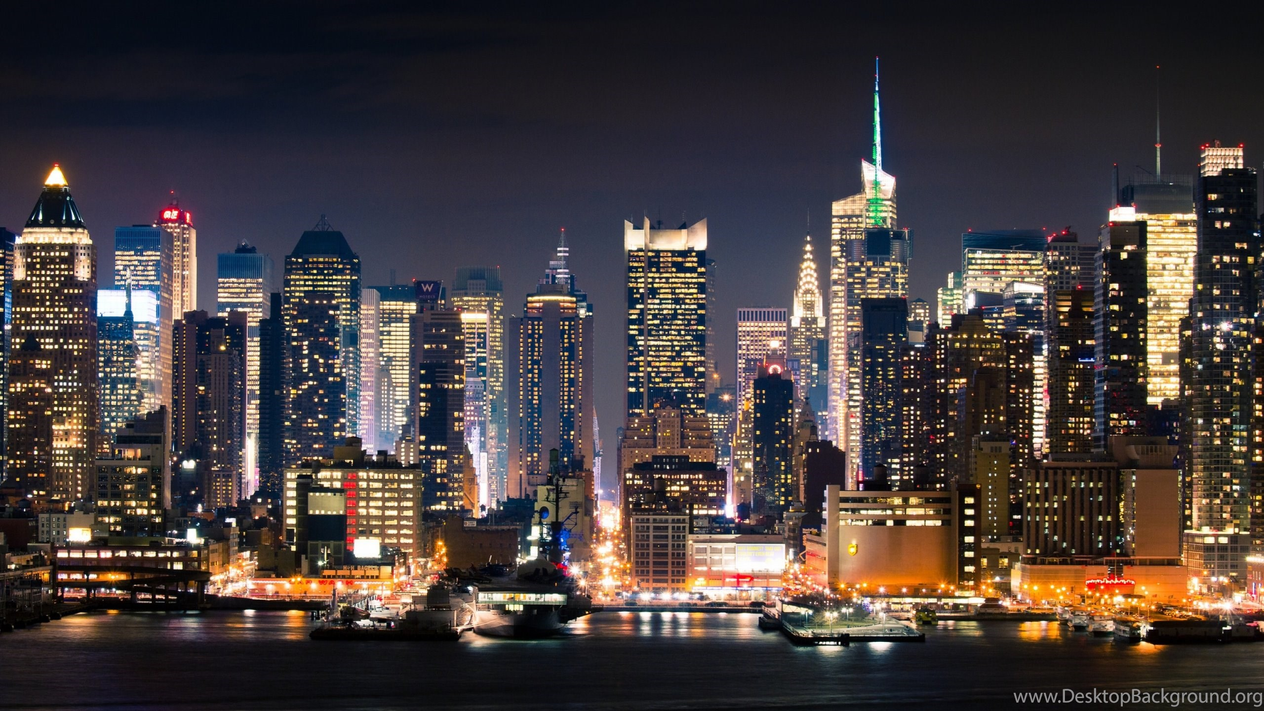 New York City At Night Manhattan 2560x1440 Hd Wallpapers And Free Desktop Background