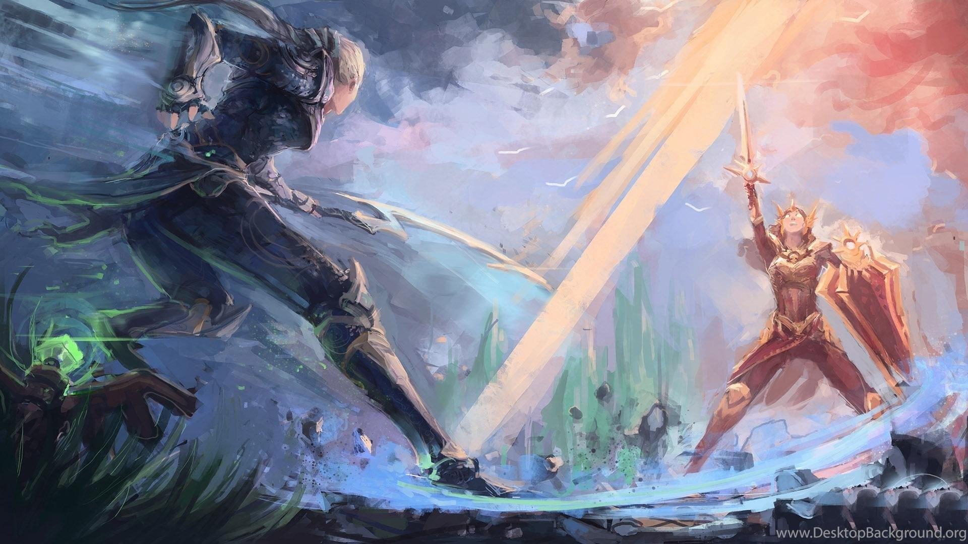 Leona Fighting Diana In League Of Legends Hd Desktop Wallpapers