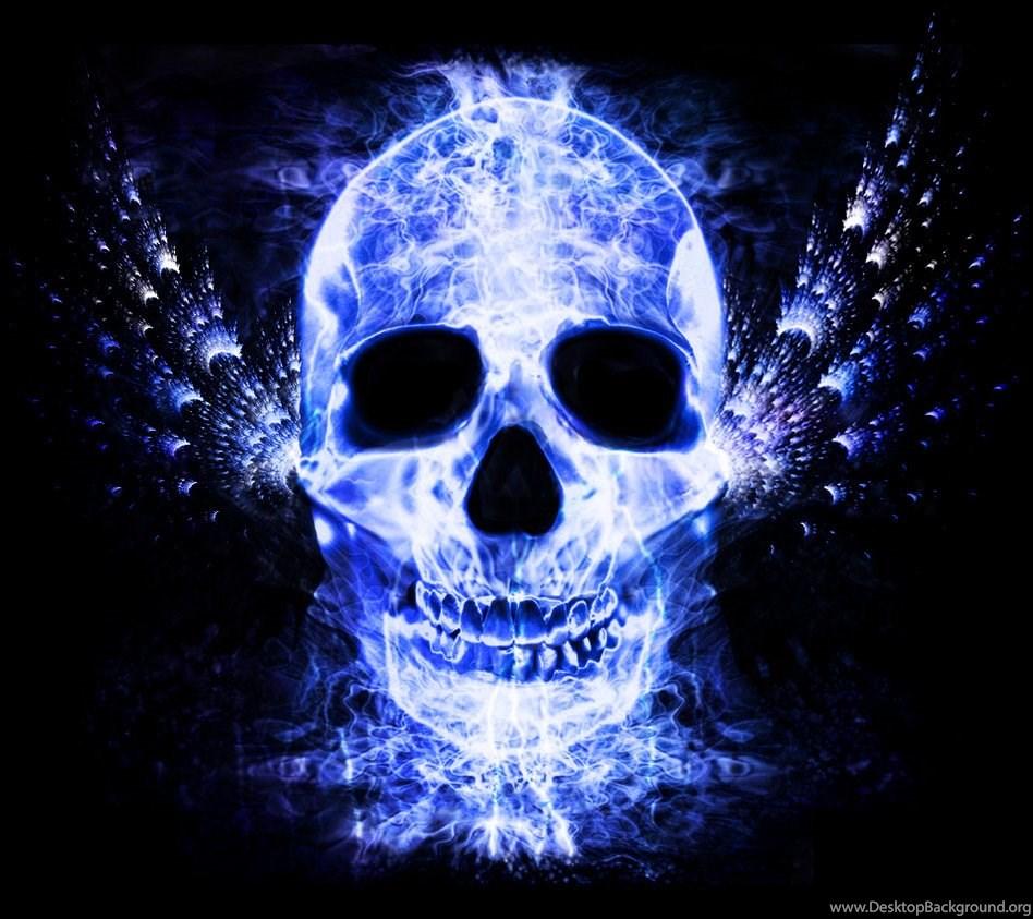 Jestingstockcom Blue Flames Skull Wallpapers Desktop Background