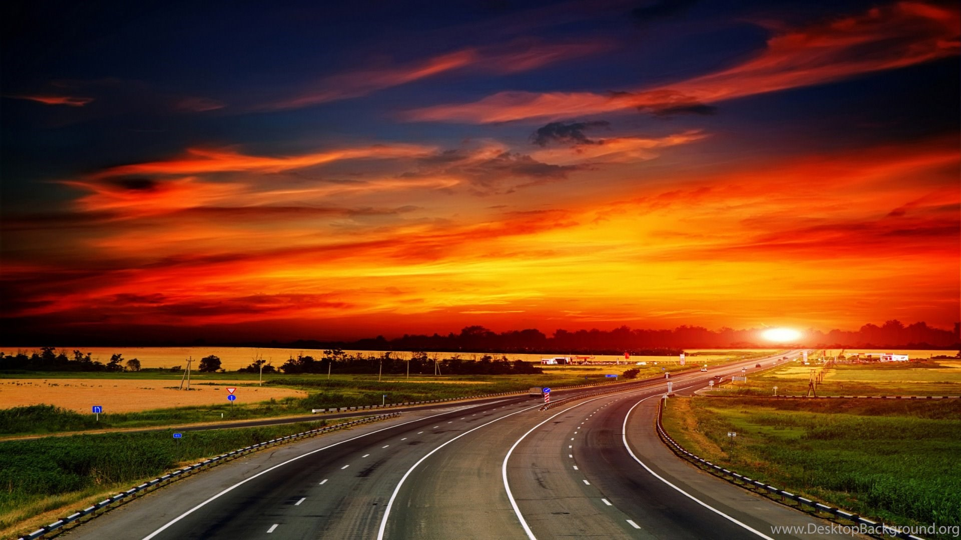 Sunset Highway Road 1920x1080 HD Wallpapers And FREE Stock Photo