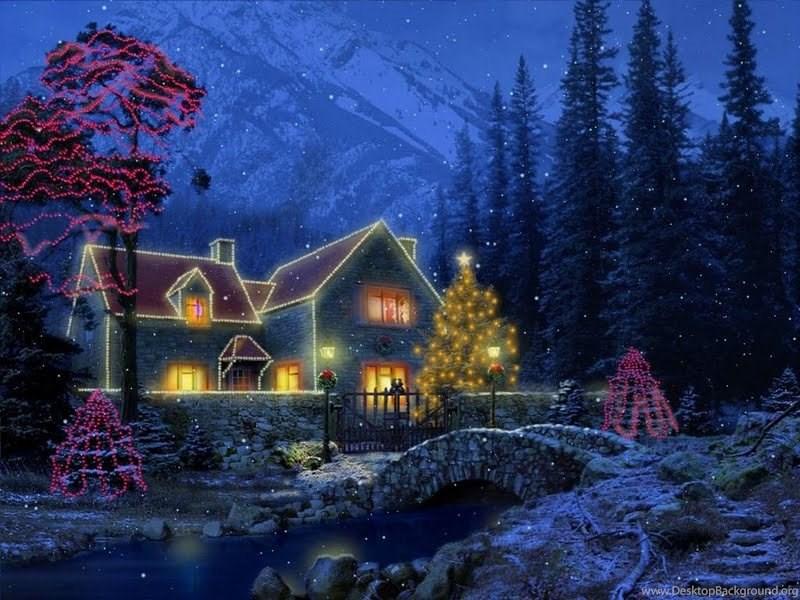 3d Christmas Cottage 173193 Jpg Desktop Background