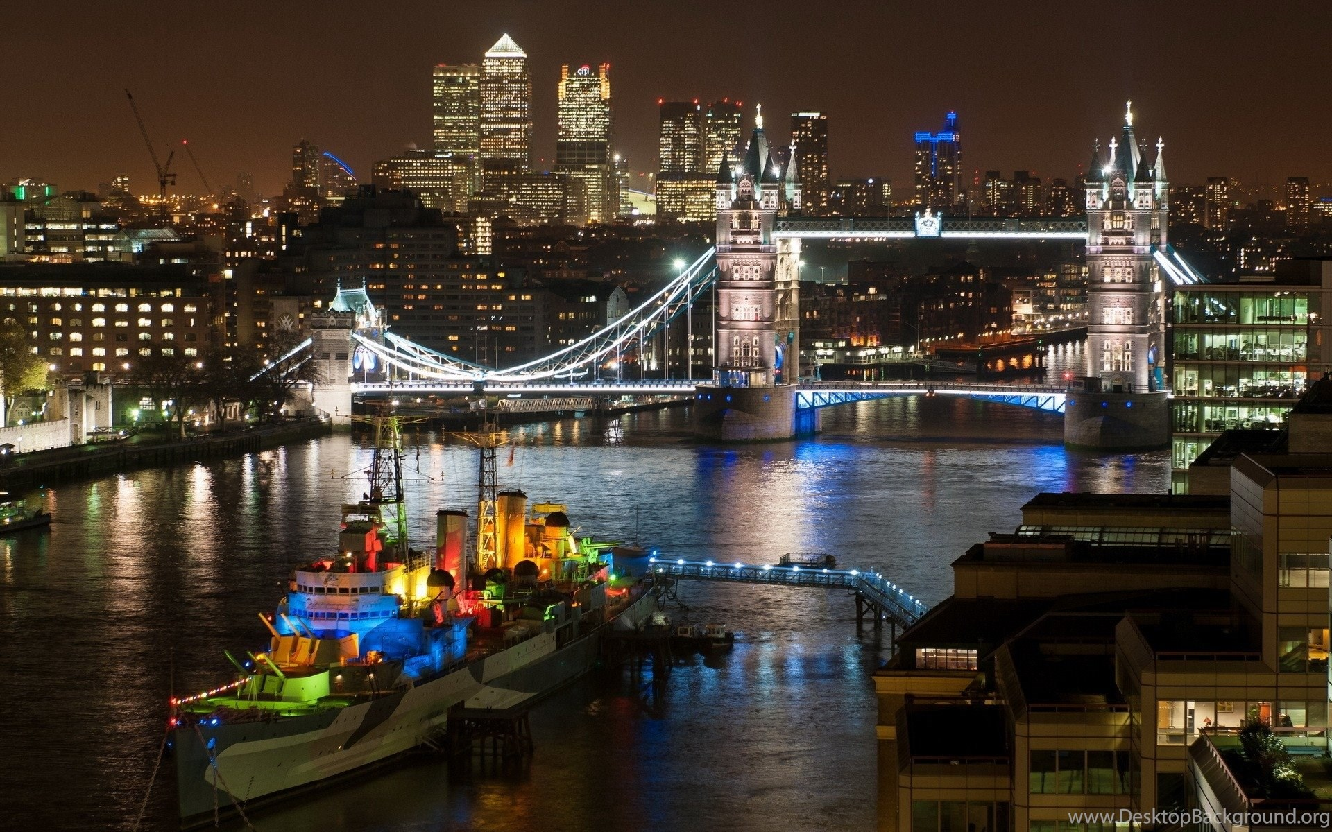London Bridge At Night Hd Desktop Wallpapers Hd Desktop Wallpapers