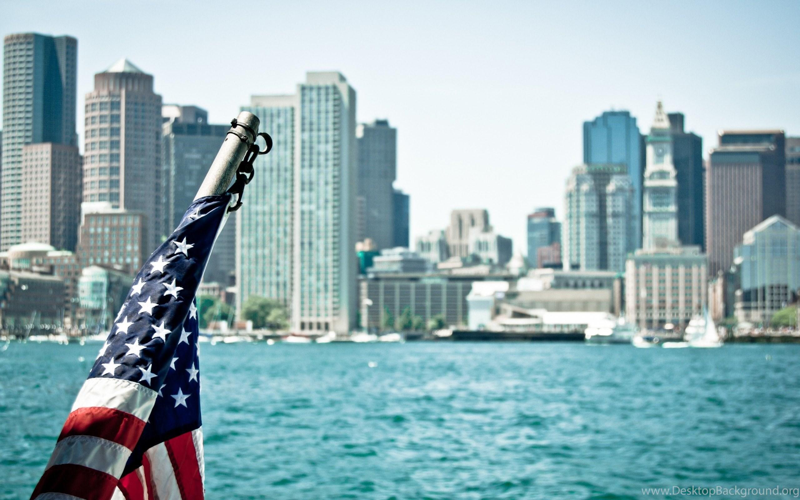 American Flag USA City Buildings Atlantic Ocean HD Wallpapers
