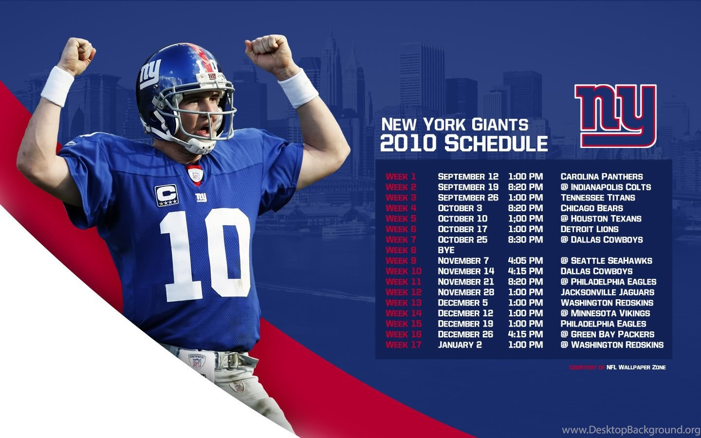 Nfl Wallpapers Zone Ny New York Giants 2010 Schedule Wallpapers