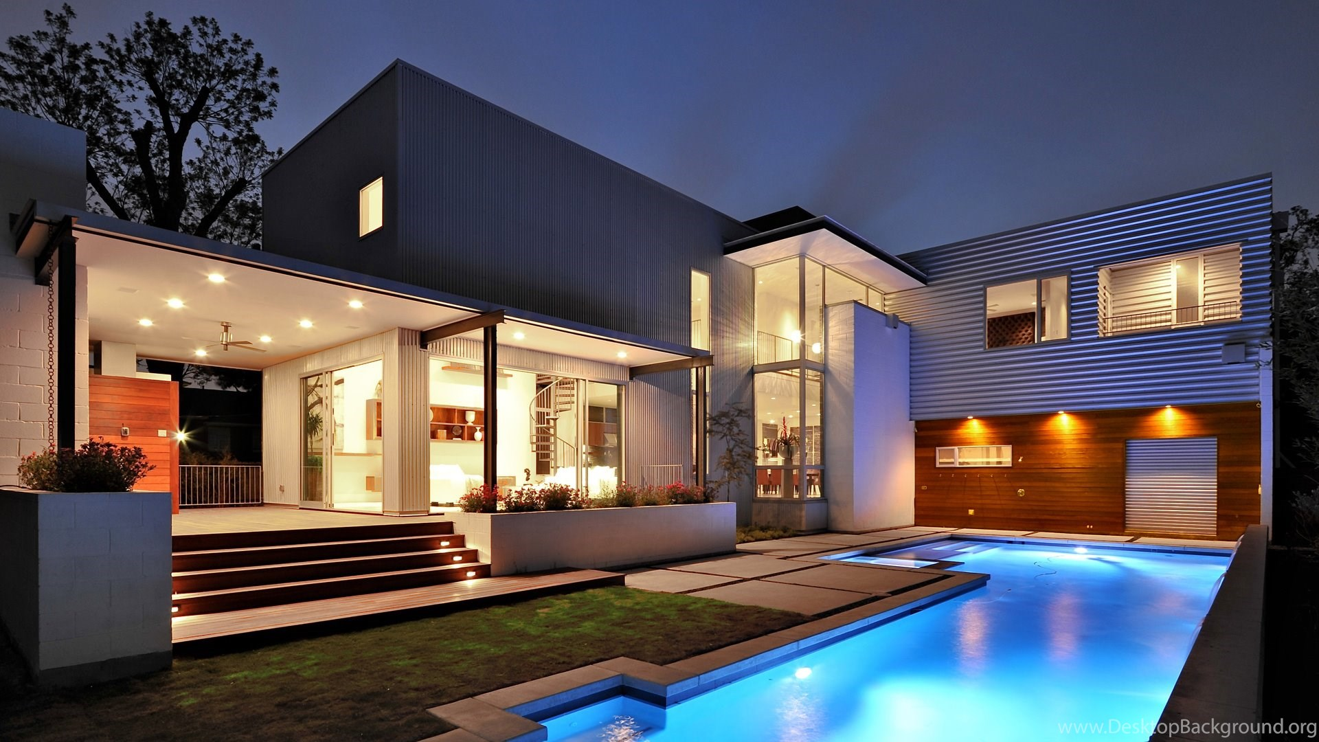1920x1080 Modern, Style, Pool., Exterior, The House, Pool, House ...
